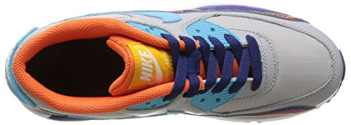 Nike Air Max 90 Prem Mesh (GS) Zapatillas de running, Niños Gris / Azul / Naranja (Wlf Gry / Clrwtr-Unvrsty Gld-Elc)