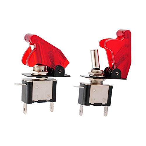 Wadoy LED SPST Toggle Switch 12V with Red Cover for Car Automative 20A Auto On Off Switch Button (2 Pcs)