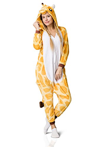 Nothing But Love Adult Giraffe Onesie Pajamas Kigurumi Animal Cosplay Costume One Piece Fleece Pjs (M, Yellow, White) by Nothing But Love (Image #6)