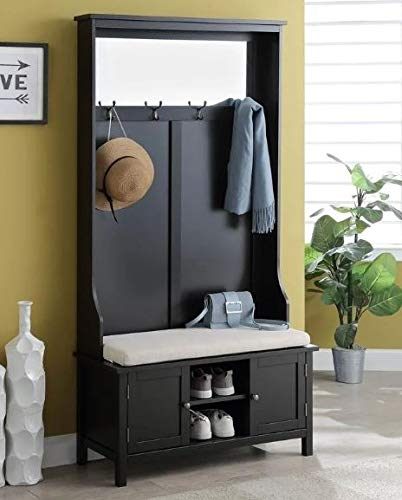 Etto- Hall Trees with Bench and Coat Racks-Organizing Your Space with Sophistication-Color Black Wood with Mirror Shoe ()