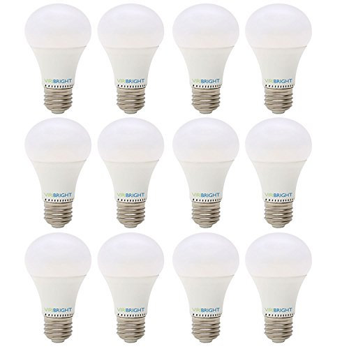 Viribright LED Dimmable A19 Light Bulb: 810-Lumen, 6500-Kelvin, 8-Watt (60-Watt Equivalent), E26 Base, Daylight, 12-Pack      Contact Reason  + Select Seller Task No predictions could - Base Output High Contact Daylight