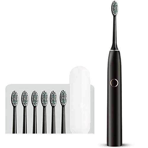 WXQMCQL Rechargeable Sonic Toothbrush for Waterproof Smart Timer Travel case Replacement Brush Heads USB Fast Charging-Black