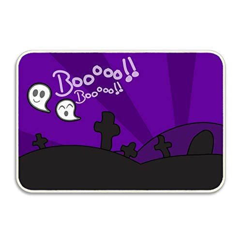 Holiday Halloween Ghost Cemetery Door Mat Front Welcome Entrance -