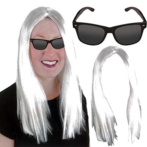 MA ONLINE Ladies Pop Rock Long Wig and Black Glasses Set Womens Stag Do Pop Lady Dress Costume One Size