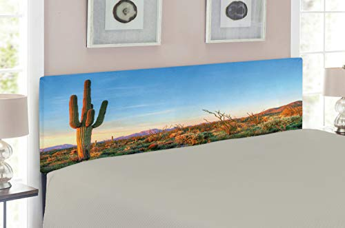 Ambesonne Saguaro Headboard for Full Size Bed, Sun Goes Down in Desert Prickly Pear Cactus Southwest Texas National Park, Upholstered Decorative Metal Headboard with Memory Foam, Orange Blue Green ()