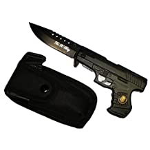 "8"" Black Police Gun Style Pocket Knife With Nylon Belt Case Included"