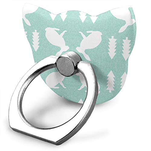 Ubnz79X Rabbit Mint Linen Phone Ring Grip & Stand, for All Phones/Tablets - 360 Rotate - Never Drop Your