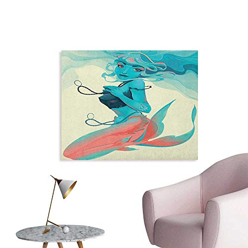 - Anzhutwelve Mermaid Wall Picture Decoration Portrait of Gothic Style Mermaid with Makeup Mythology Fairytale Art Print Custom Poster Teal Pink Cream W28 xL20