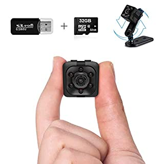 Mini Spy Camera Wireless Hidden Spy Cop Cam Seen on TV, 1080P Mini Hidden Camera with 32G SD Card, Nanny Cam Night Vision Camera with Motion Detection