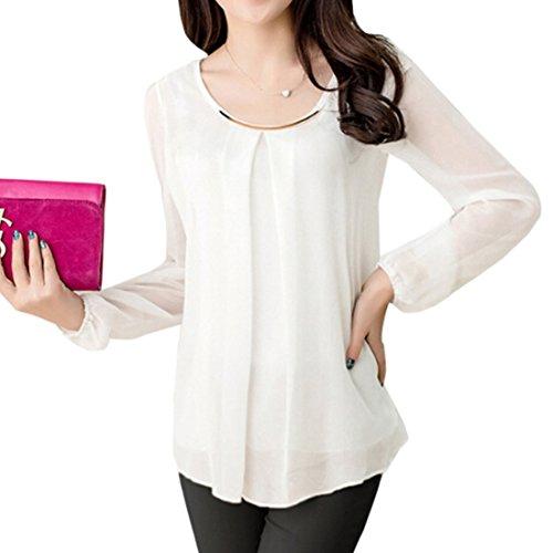 Largo de Moda de moichien Camisa Blusa de blanca mujer cuello Top Camisa Ai delgada Coreano para redondo seda gasa Xxxl qExY4zw01