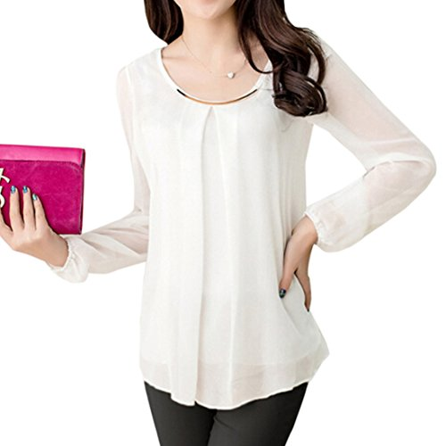 moichien cuello Camisa de para redondo Xxxl de Blusa Top Moda de mujer Camisa delgada Largo blanca Coreano gasa Ai seda dpfSwd