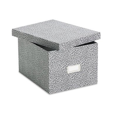 Oxford® Reinforced Board Card File with Lift-Off Lid Holds 1200 6 x 9 Cards, Black/White (Labels File Rotary)