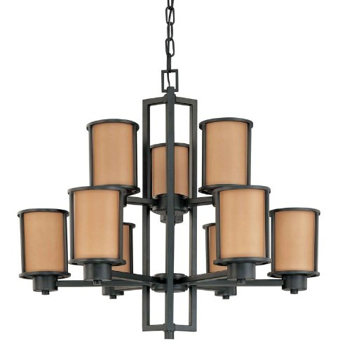 Nuvo 60/2856 Two Tier, Nine Light Chandelier with Parchment Glass, Odeon, 30