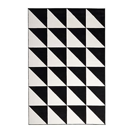 Ikea sillerup rug low pile black white 200x300 cm