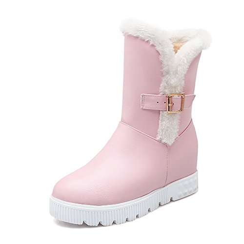 AllhqFashion Womens Closed Round Toe Kitten-Heels Soft Material Low-top Solid Boots Pink QFpDRIa