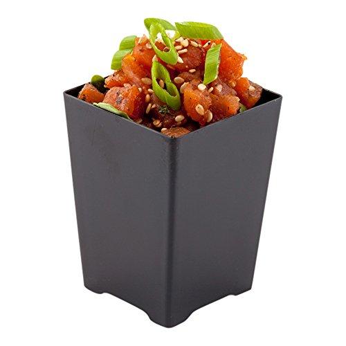 Tall Quadrato Cup, Tall Dessert Cup, Short Appetizer Cup - Solid Plastic - 4 oz - Black - 100ct Box - Restaurantware