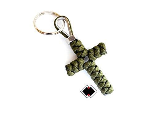 Cross keychain - 550 Paracord - OD Green - Handmade in USA -