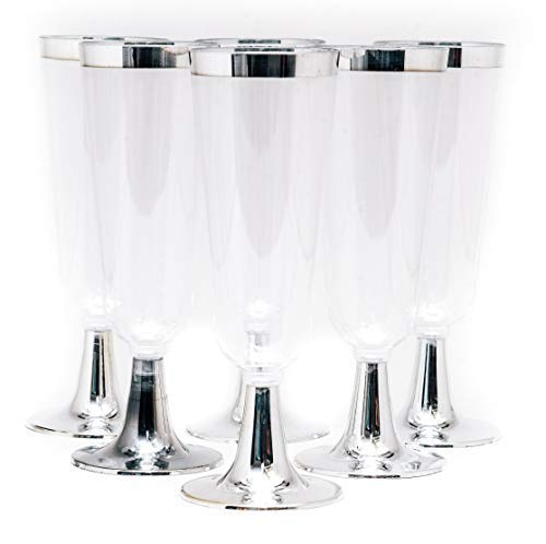 48 Disposable Plastic Champagne Flutes for Parties, Wedding, Cocktails, Toasting | 5.5 oz Silver Rim and Stem | BPA-Free, Eco-Friendly Crystal Clear Recyclable Glass ()