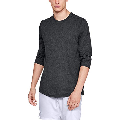 Under Armour Men's Threadborne 3/4 sleeve, Black Full Heather (001)/Black, X-Large