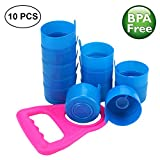 6 gallon beverage cooler - Non Spill Cap Anti Splash Bottle Caps Reusable for 55mm 3 and 5 Gallon Water Jugs with Water Bottle Handle Pack of 10