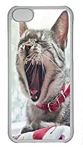 Shell Case for iphone 5C with Sleepy Cat DIY Fashion PC Transparent Hard Skin Case for iphone 5C