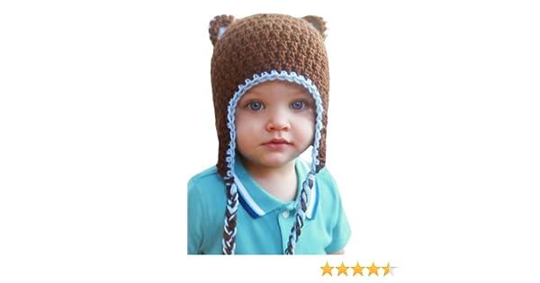c9ccc208d66 Amazon.com  Melondipity s Baby Boy Bear Hat Blue Brown with Braids Handmade  Crochet Beanie  Clothing