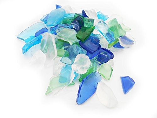 - 1 Lb (2 Cup) Light Color Mix Decor Glass Pieces for Beach Crafts, Mosaic, Vase Filling and Table Scatter