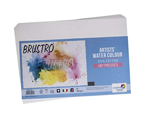 Brustro Watercolour Papers, 25% Cotton, HP 300 GSM, A3 Size, 5 Sheets (Pack of 2)