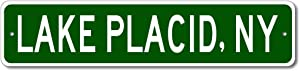 Lake Placid, New York - USA City and State Street Sign - Personalized Metal Street Sign, Man Cave Destination Sign, Idea, Pub Bar Wall Decor, Made in USA - 4x18 inches