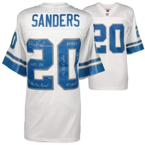 BARRY SANDERS Autographed Career Stat Detroit Lions Jersey FANATICS LE (Barry Sanders Stats)