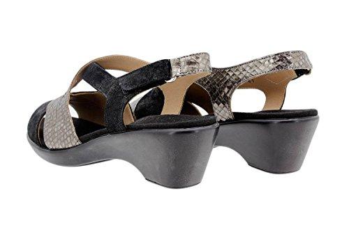 Negro Semelle en Confortables à Femme Amples Amovible acero Cuir Chaussure 1861 Sandales PieSanto Confort BSpfT7ng