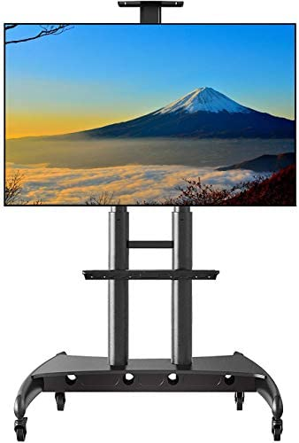 NB Mobile TV Stand Rolling TV Cart with Locking Wheels for 55-80 Inch LED LCD OLED Flat Screen Portable Swivel Floor TV Stand with Laptop Shelf 200lbs (Black)