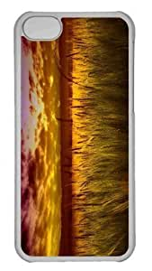 LJF phone case Customized iphone 5/5s PC Transparent Case - Colorful Sunset Over Wheat Field Personalized Cover