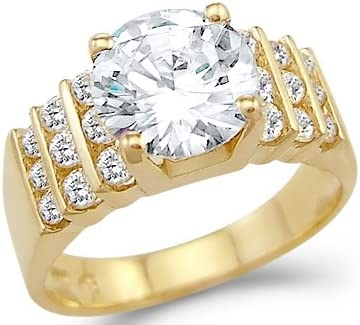 Size 10 Solid 14k Yellow Gold Large Solitaire Cz Cubic Zirconia Engagement Ring 3 Ct Round Cut Amazon Com