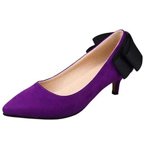 Femmes Kitten Escarpins Avec Purple A Heel Pointu Enfiler Bow RAZAMAZA Elegant UwTHH