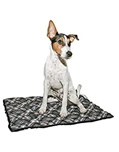Aqua Coolkeeper alfombra refrescante para perro gris/diseño de cuadros