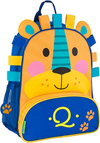 (Monogrammed Me Sidekick Backpack, Blue Lion, with Embroidered Kids Initial Q)