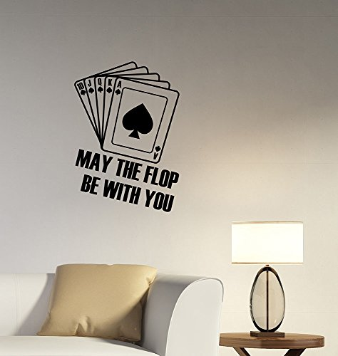 Royal Flush Wall Decal Poker Playing Cards Doyle Brunson Motivational Quote Vinyl Sticker Gambling Inspirational Art Decorations for Home Casino Playroom Decor Ideas pq2 ()