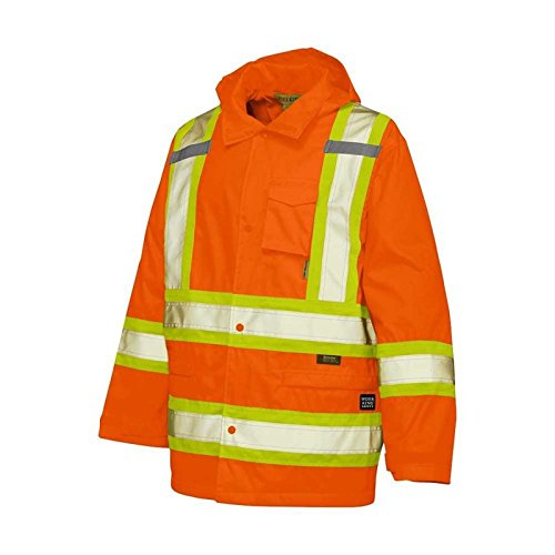 Work King Safety Men's Big and Tall Hi Vis Rain Jacket 300 D, Flor, S by Work King Safety