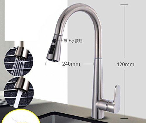 ANNTYE Waschtischarmatur Bad Mischbatterie Badarmatur Waschbecken Messing Pull-Out-Warmes und kaltes Wasser ausziehbar Schwenkbar gebürstet Einhebelsteuerung Badezimmer Waschtischmischer