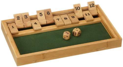 Philos 3271 - Shut The Box 12er, Bambus, Green Games, Würfelspiel, Klappenspiel
