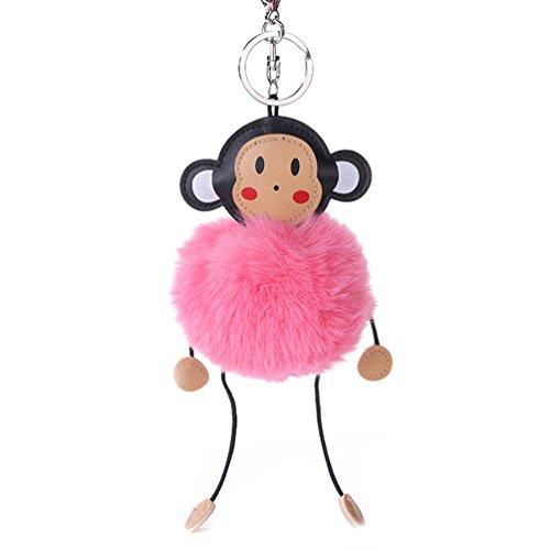 gloryhonor Cute Cartoon Affe Kunstfell flauschig Ball Schlüsselanhänger Tasche Anhänger, dunkelgrau, Einheitsgröße Rose