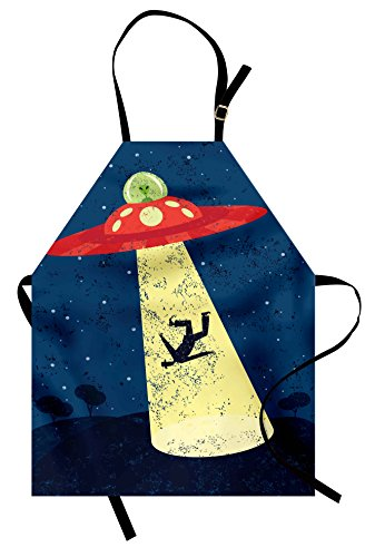 Ambesonne Outer Space Apron, Distressed Graphic of an Alien Abduction of Human Science Fiction Image, Unisex Kitchen Bib Apron with Adjustable Neck for Cooking Baking Gardening, Yellow Blue ()