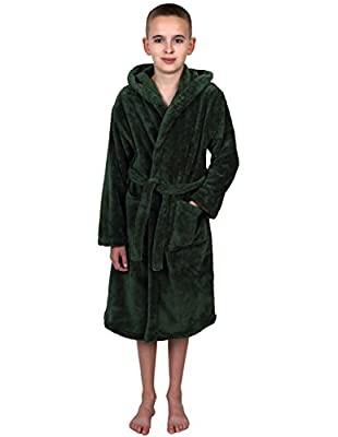 TowelSelections Boys Hooded Plush Robe Soft Fleece Bathrobe Made in Turkey