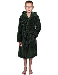 Boys Robe, Kids Plush Hooded Fleece Bathrobe, Made in Turkey