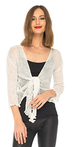 SHU-SHI Womens Sparkly Metallic Knitted Sheer Shrug Cardigan Bolero Top One Size Fits Most