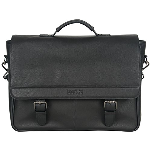 Kenneth Cole Reaction Leather Single Compartment Flapover 15.0'' Computer Business Case Laptop Briefcase, Black, One Size by Kenneth Cole REACTION