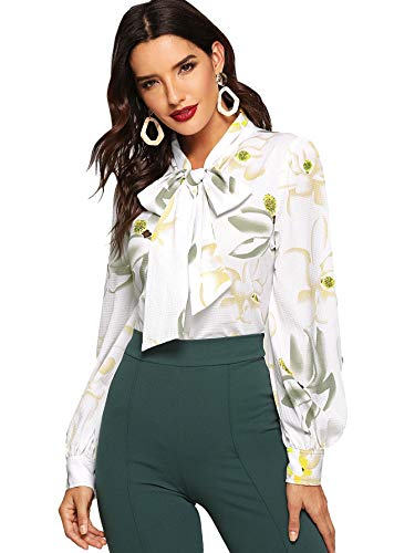 Floerns Women's Bow Tied Neck Lantern Long Sleeve Floral Print Blouse Multicolor-6 XS