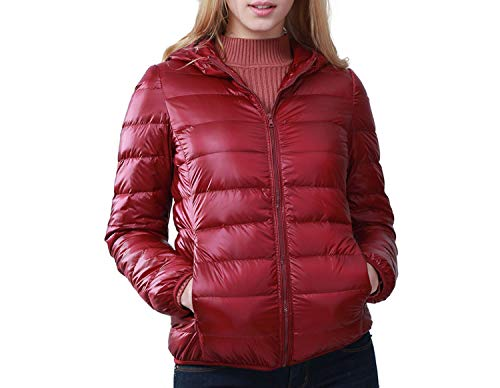 I'll NEVER BE HER Down ETS Woman 2018 New Pattern Short Dress Will Code Loose Down Coat Plus Size,Claret red,XXXL -