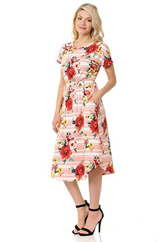 Flare in Short Solid Floral Striped Floral USA Pockets Women's in luxe Midi Made Blush with and Sleeve iconic Dress wqz1IvEnx